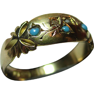 Decorative Victorian{Birmingham 1890} 15ct Gold Diamond + Turquoise Gemstone Ring