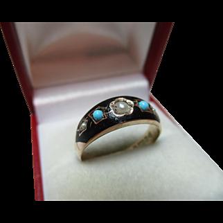 Early Edwardian{Chester 1901} 9ct Rose Gold Black Enamel, Turquoise + Split Seed-Pearl Gemstone Ring