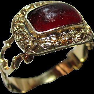 Superb Georgian 18ct Solid Gold Rectangular Shaped Garnet Cabochon Gemstone Ring