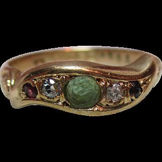 Exquisite{Birmingham 1919} 18ct Gold 5-Stone Diamond, Emerald + Ruby Gemstone 'Suffragette' Twist Ring{3.9 Grams}