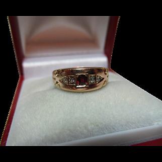 Attractive Victorian{Birmingham 1892} 15ct Rose Gold 5-Stone Diamond + Garnet Gemstone Ring