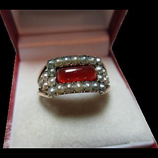 Majestic Georgian 15ct Rose Gold Carnelian + Split Seed-Pearl Gemstone Ring