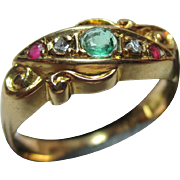 Decorative Antique 18ct Gold  Diamond, Emerald + Ruby Gemstone 'Suffragette' Twist Ring.