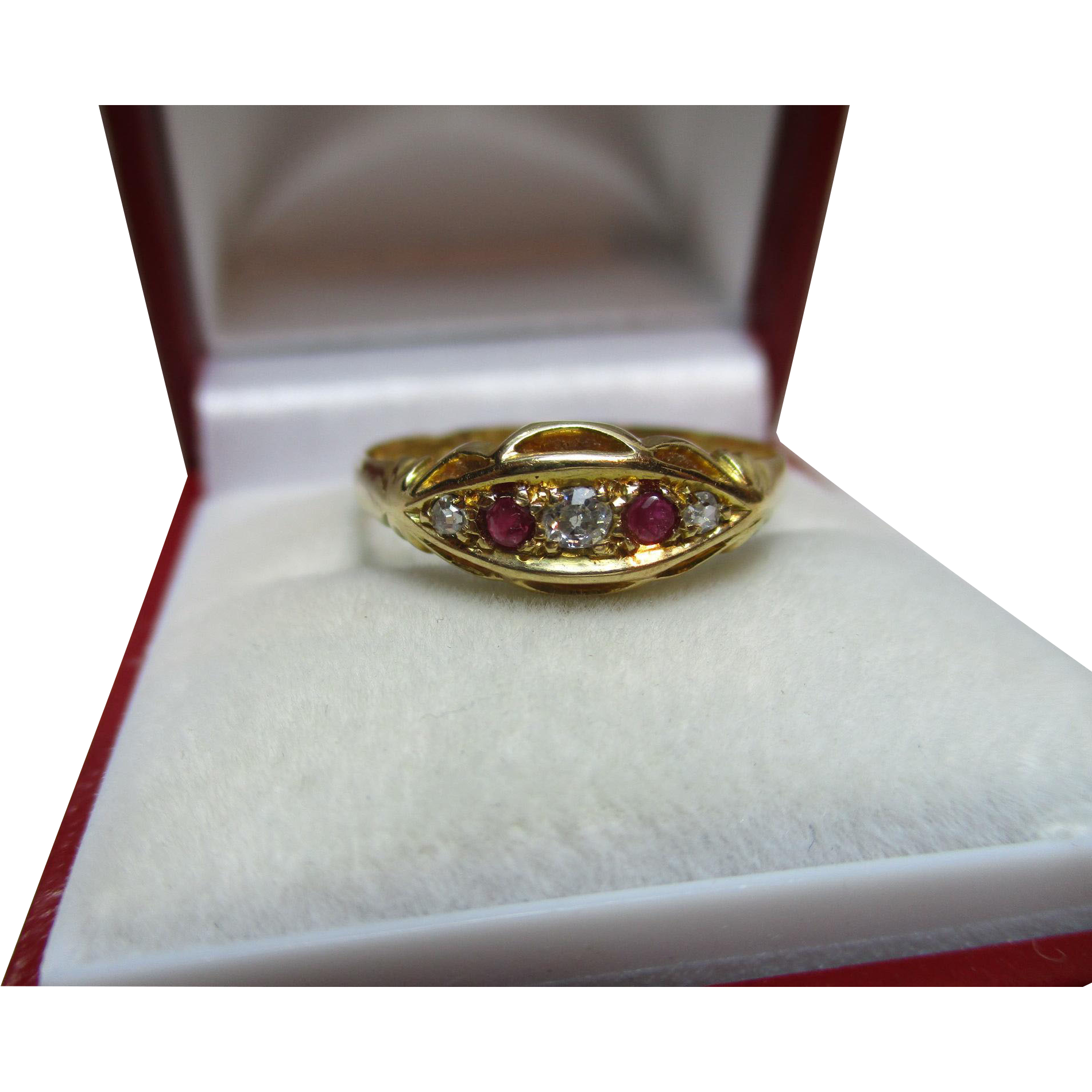 Attractive antique birmingham 1913 18ct sold gold 5 stone for Sell jewelry birmingham al