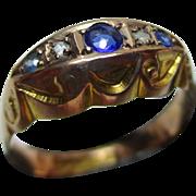 Ornate Antique(Chester Hallmark) 9ct Solid Gold 5-Stone Diamond + Sapphire Gemstone Ring