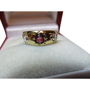 Quality Antique 18ct Solid Gold 3-Stone Diamond + Ruby Gemstone Ring{0.35ct Diamond Weight}
