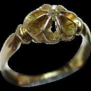 Pretty Edwardian{Birmingham 1905} 18ct Gold Diamond Solitaire Gemstone Ring