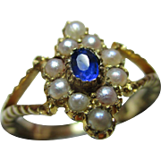 Superb Antique 18ct Gold Sapphire + Split Seed-Pearl Gemstone Ring