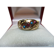 Exquisite Edwardian{Chester 1907} 9ct Gold 5-Stone Ruby + Turquoise Gemstone Ring