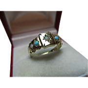 Ornate Victorian{Chester 1898} 9ct Gold 5-Stone Opal + Turquoise Gemstone Ring