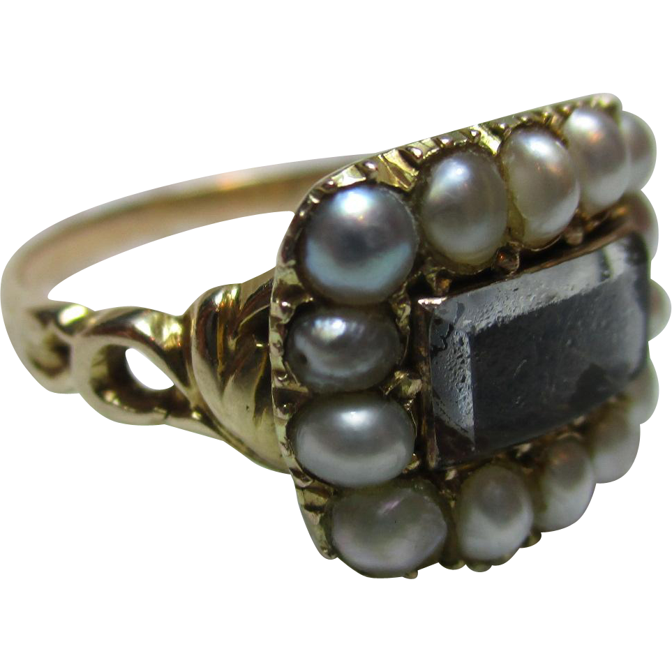 Quality Georgian 18ct Solid Gold Split Seed-Pearl Gemstone 'Memorial' Ring