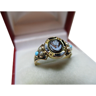 Superb Early Victorian 18ct Gold Black Enamel, Turquoise + Split Seed-Pearl Gemstone 'Forget-Me-Knot' Ring