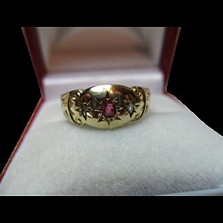 Attractive Antique 18ct Gold 3-Stone Diamond + Ruby Gemstone Ring