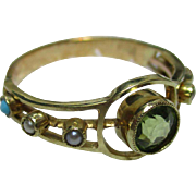 Decorative Antique 18ct Gold Peridot, Turquoise + Split Seed-Pearl Gemstone Ring{3.0 Grams}