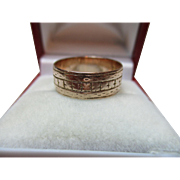 Decorative Victorian{Chester 1883} 9ct Rose Gold 'Engraved' Wedding Band Ring