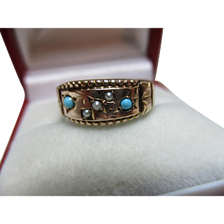 Decorative Edwardian{Birmingham 1903} 9ct Gold Turquoise + Split Seed-Pearl Gemstone Ring
