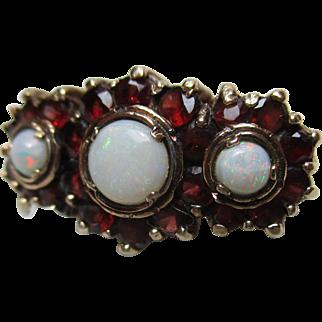 Pretty Vintage{London 1975} 9ct Solid Gold Opal + Garnet Gemstone Ring{4.9 Grams}