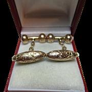 Gents' Victorian{Birmingham 1899} 9ct Gold 'Torpedo + Hollow Dumbbell' Chain-Link Cufflinks