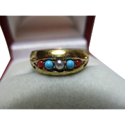 Vibrant Early Edwardian{Birmingham 1902} 15ct Solid Gold 5-Stone Red Coral, Turquoise + Split Seed-Pearl Gemstone Ring