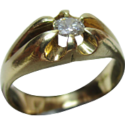Decorative Antique 18ct Solid Gold Diamond Solitaire Gemstone Ring{0.22Ct Weight}