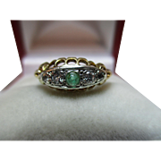 Decorative Antique 18ct Solid Gold 5-Stone 'Marquise Shaped' Diamond + Emerald Gemstone Ring{0.15ct Diamond Weight}