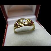 Vibrant Mid-Edwardian{Chester 1905} 18ct Gold 3-Stone Opal + Garnet Gemstone Ring