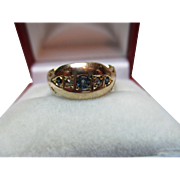 Decorative Antique 18ct Solid Gold 5-Stone Diamond + Sapphire Gemstone Ring