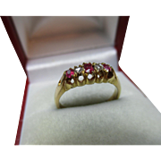Attractive Antique 18ct Solid Gold 5-Stone Diamond + Ruby Gemstone Ring{3.6 Grams}