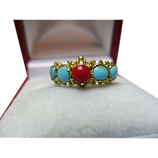 Exquisite Georgian 15ct Gold 5-Stone Red Coral + Turquoise Gemstone Ring