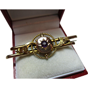Attractive Antique 9ct Gold Amethyst Gemstone Bar Brooch