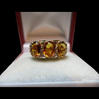 Vibrant Vintage 9ct Solid Gold 3-Stone 'Cushion Shaped' Citrine Gemstone Ring