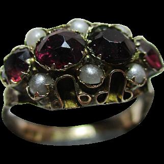 Ornate Victorian{Birmingham 1900} 9ct Gold Garnet + Split Seed-Pearl Gemstone Ring