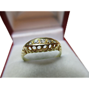 Attractive Antique{Chester 1916} 18ct Solid Gold 5-Stone Diamond Gemstone Ring