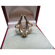 Attractive Antique 15ct Solid Gold 'Marquise Shaped' Smoky Quartz Gemstone Ring{3.6 Grams}