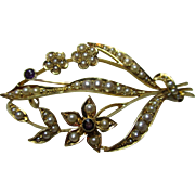 Majestic Antique 15ct Solid Gold Amethyst + Split Seed-Pearl Gemstone 'Spray' Brooch With Safety Chain{7.4 Grams}