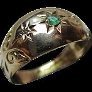 Decorative Edwardian{Birmingham 1909} 9ct Gold 3-Stone Diamond + Emerald Gemstone Ring