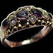 Ornate Antique 9ct Rose Gold Almandine Garnet + Split Seed-Pearl Gemstone Ring