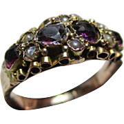 Ornate Antique 9ct Rose Gold Almandine Garnet + Split Seed-Pearl Gemstone Ring