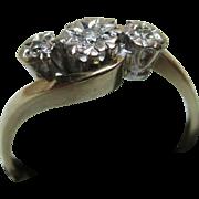 Pretty Vintage 9ct Solid Gold 3-Stone Diamond Gemstone 'Crossover' Ring