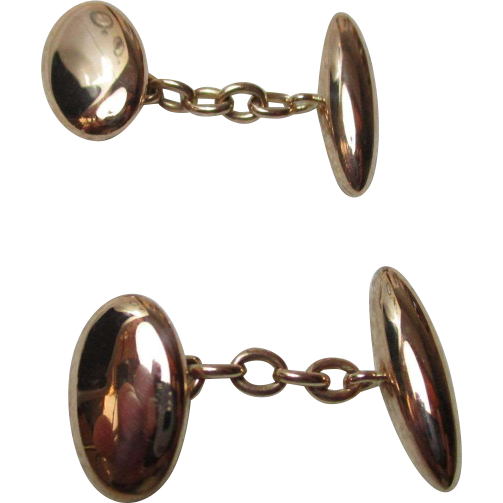 Gents' Antique 10ct Rose Gold 'Oval +Torpedo' Shaped Chain-Link Cufflinks{5.1 Grams}