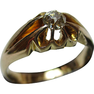 Decorative Antique 18ct Solid Gold Diamond Solitaire Gemstone Ring{4.7 Grams}{0.2Ct Diamond Weight}