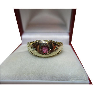 Decorative Antique Style 9ct Solid Gold 3-Stone Diamond + Ruby Gemstone Ring