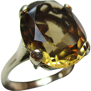 Vintage{London 1965} 9ct Solid Gold 'Cushion Shaped' Citrine Gemstone Ring{4.5 Grams}