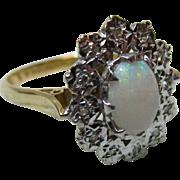 Pretty Vintage{Birmingham 1972} 18ct Solid Gold 'Star Shaped' Diamond + Opal Gemstone Ring{4.3 Grams}
