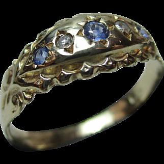 Ornate Antique 18ct Solid Gold 5-Stone Diamond + Sapphire Gemstone Ring
