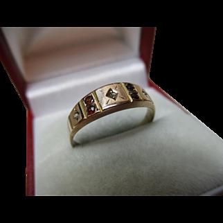 Ornate Victorian{Birmingham 1888} 9ct Solid Rose Gold 7-Stone Diamond, Garnet + Split Seed-Pearl Gemstone Ring