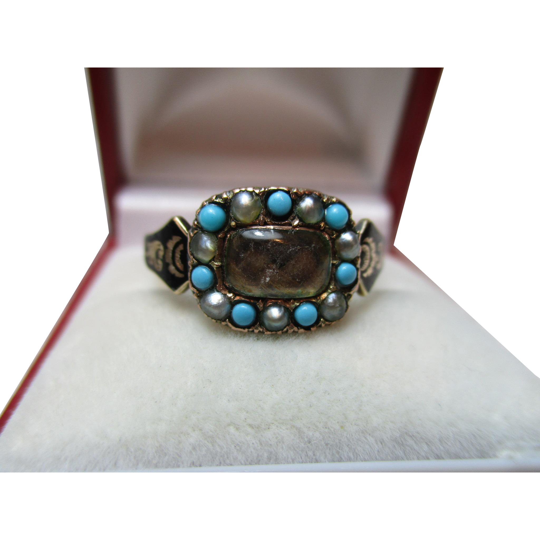 Exquisite Georgian 15ct Solid Gold Black Enamel, Turquoise + Split Seed-Pearl Gemstone 'Memorial' Ring