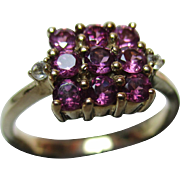 Pretty Vintage 9ct Solid Gold 'Square Shaped' Pink Tourmaline + Cubic Zirconia Gemstone Ring