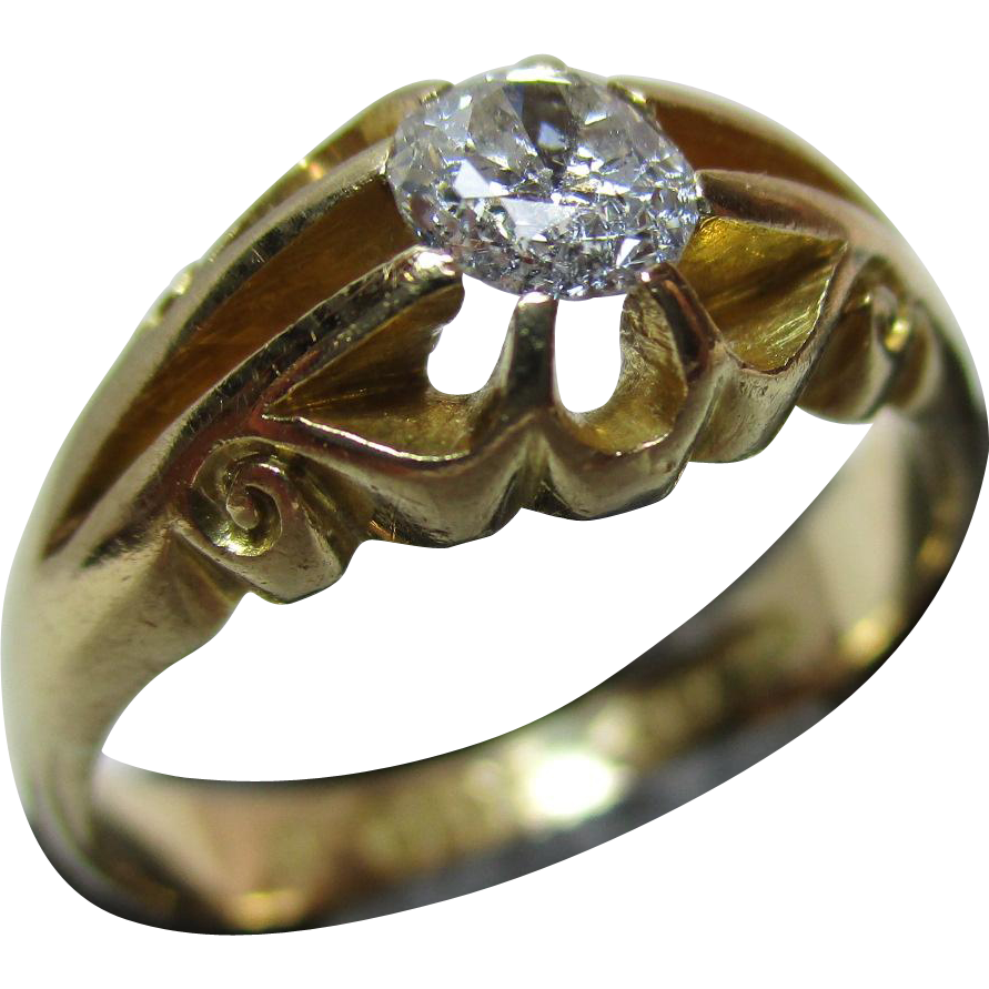 Ornate Antique{Birmingham 1913} 18ct Solid Gold Diamond Solitaire Gemstone Ring{4.9 Grams}{0.35Ct Weight}