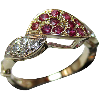 Exquisite 9ct Solid Gold Diamond + Ruby Gemstone 'Twist' Ring{0.2Ct Diamond Weight}